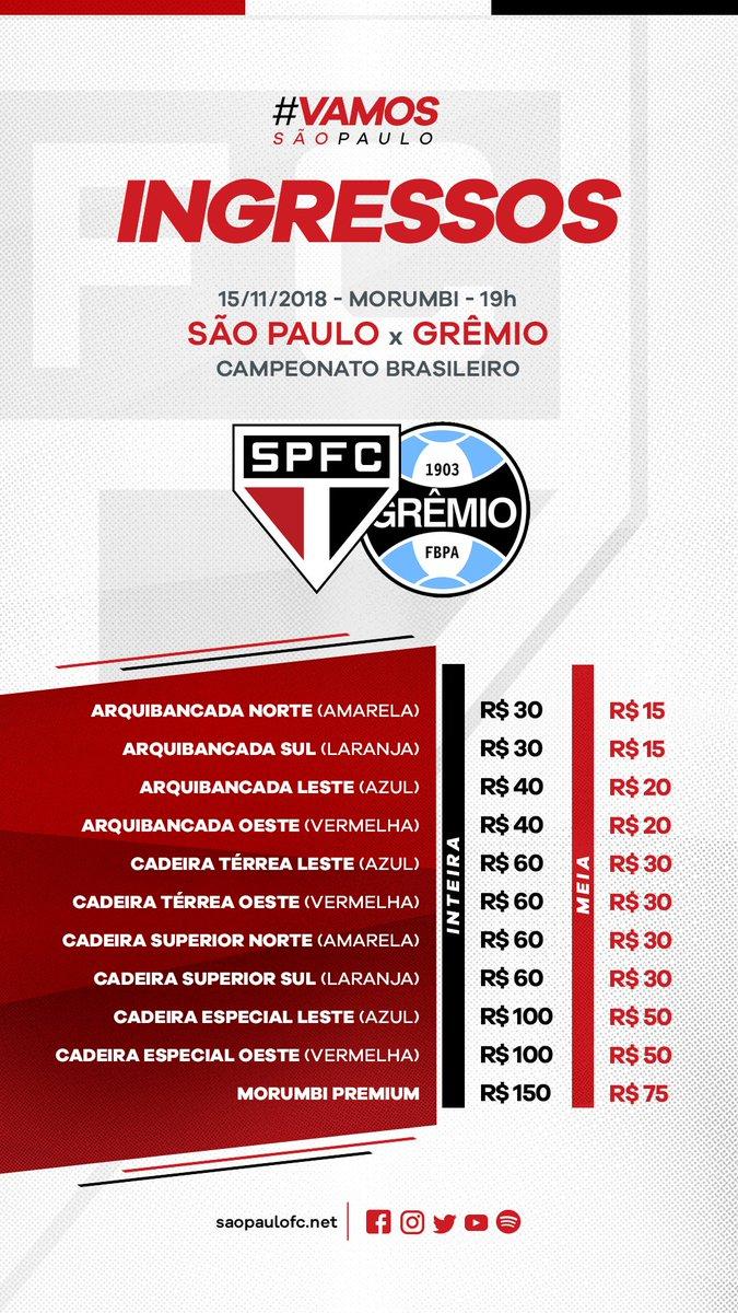 Venda de ingressos para os jogos contra Grêmio e Cruzeiro está aberta a toda a torcida! Garanta seu lugar para torcer pelo Tricolor em casa #VemProMorumbi #VamosSãoPaulo 🇾🇪  Compre online: https://t.co/29xS7pN0qN