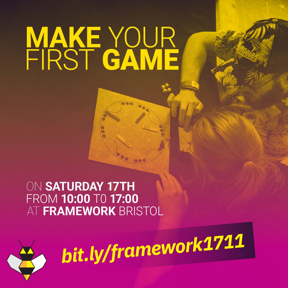 📢 Calling all aspiring game designers in #Bristol! Have you ever dreamt of making your own game, but have no idea where to start? Then come to this workshop on Saturday at @_Framework bit.ly/framework1711