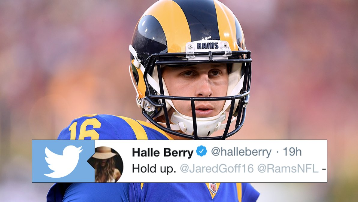 Fans loved Goff's response to Halle Berry after she tweeted about the Rams' audible with her name. MORE @ https://t.co/4GloBZRzMK