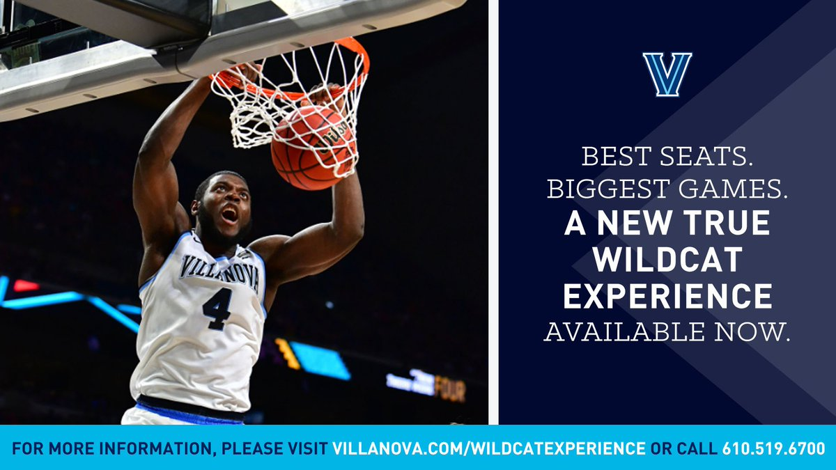 Enjoy access to the best seats, biggest games, and premium hospitality. To learn more about the Wildcat Experience call 610-519-6700 or visit Villanova.com/wildcatexperie… #NovaNation #WildcatExperience #GoNova