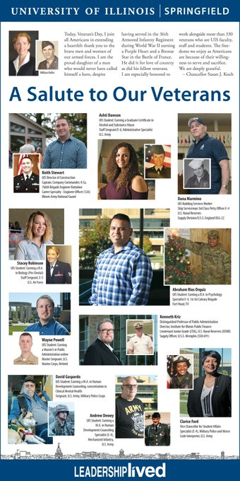 ICYMI – Check out the #UISedu #VeteransDay ad that ran in The State Journal-Register on Sunday! We spotlighted several UIS students, faculty and staff who have served our country. Thank you for your service! https://t.co/3imfQlmjV6