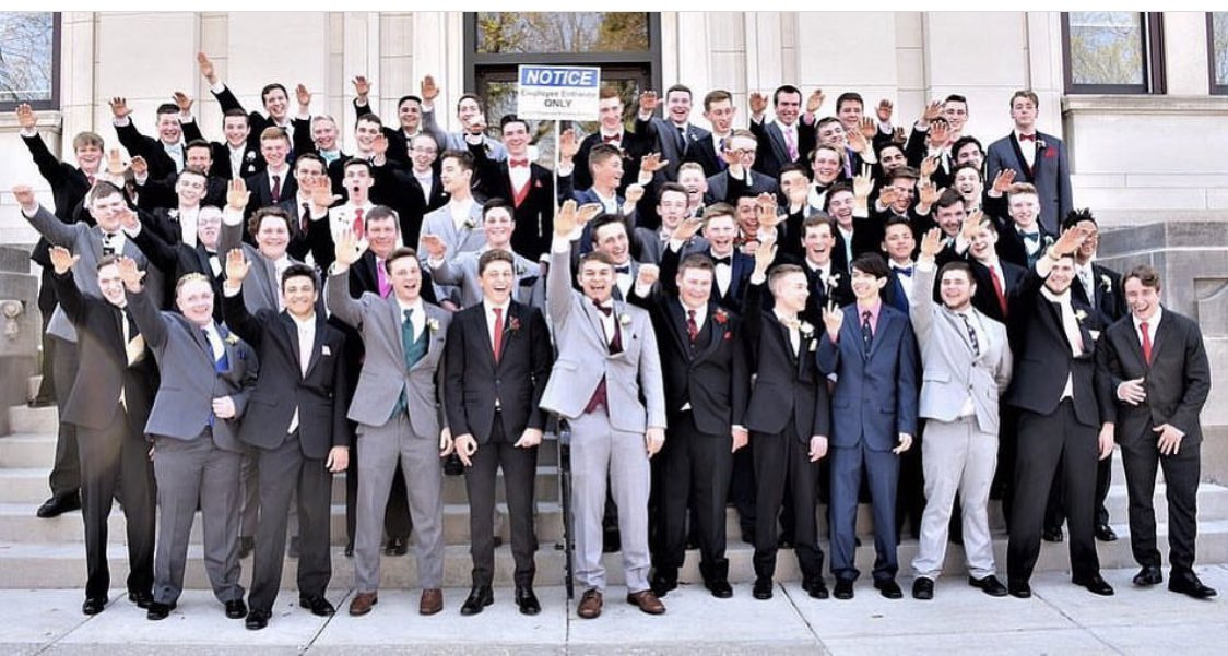 Baraboo High School In Wisconsin. This is the Graduating male class in 2018, don't sit back and think racism is dead. This is our future police officers and judges. Direct number: (608) 355-3940 HR: (608) 355-3950 ext 1025 #MondayMotivation