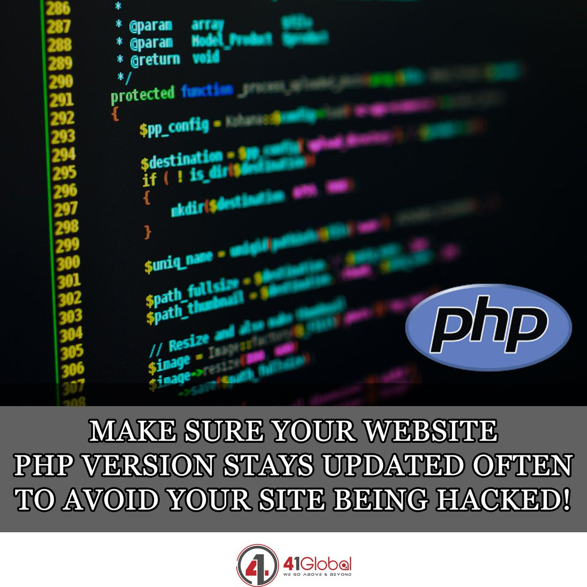 Web Security Tip! Alot of CMS websites such as wordpress & joomla depend on PHP scripting language.  PHP 5.6 & 7.0 support ends after December 2018.   #41Global #php #marketing #website #wordpress #websitedesigner #webdesign  #codingisfun #codinglife #code #techie #tech
