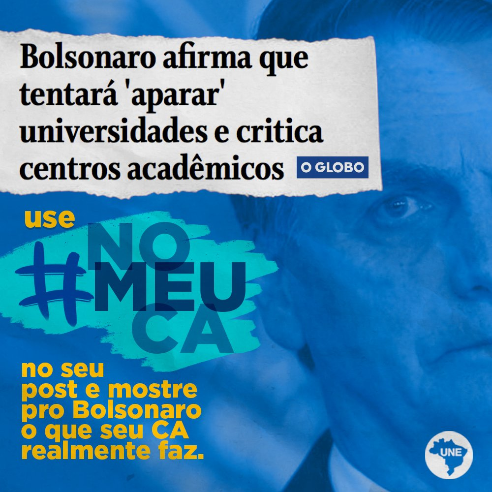 Use a hashtag #NoMeuCA e vamos mostrar ao Bolsonaro que os CAs são sim, espaços de construção política e aprendizado. Vamos juntos! Leia: https://t.co/MkayWgjw9p