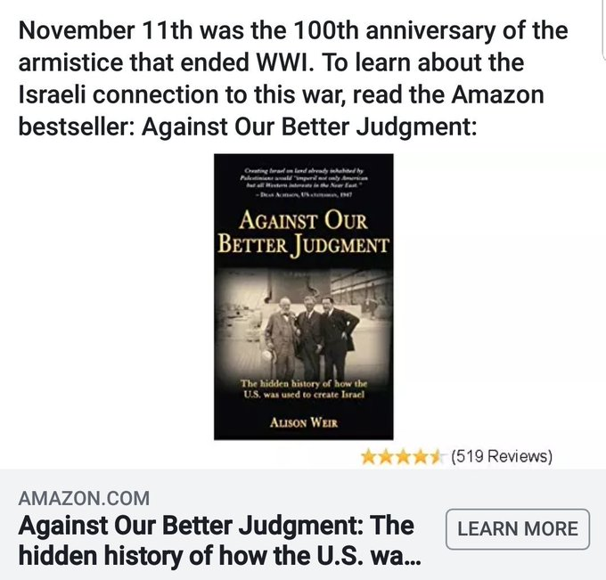 #ArmisticeDay100 Read about the Israeli connection to WW1. Against Our Better Judgment: The hidden history of how the was used to create Israel Photo