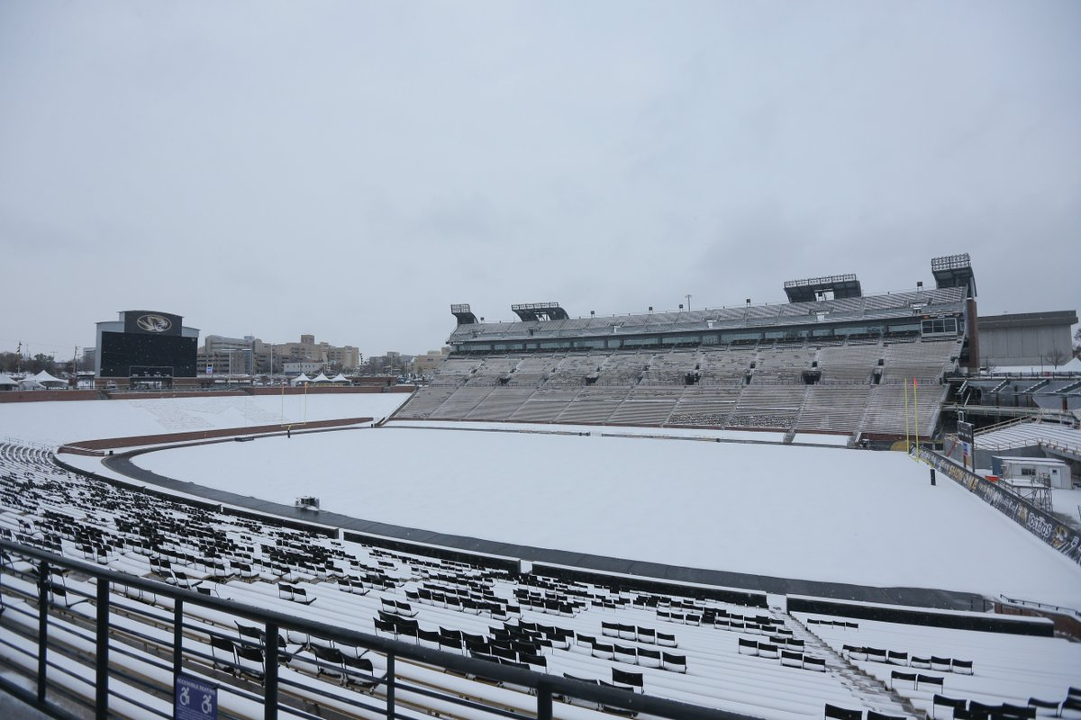 LOOK: Faurot Field blanketed in snow as cold front sweeps ...