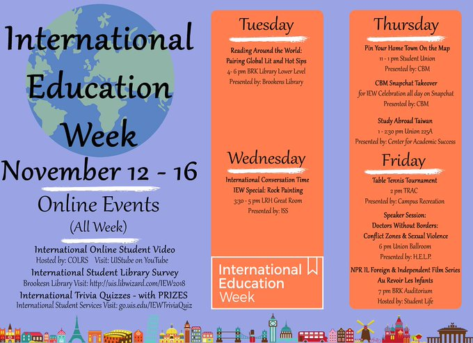 It's #InternationalEducationWeek at #UISedu! Take a look at some of the events planned for this week where you can learn about other cultures. https://t.co/ay0wzsSdJg