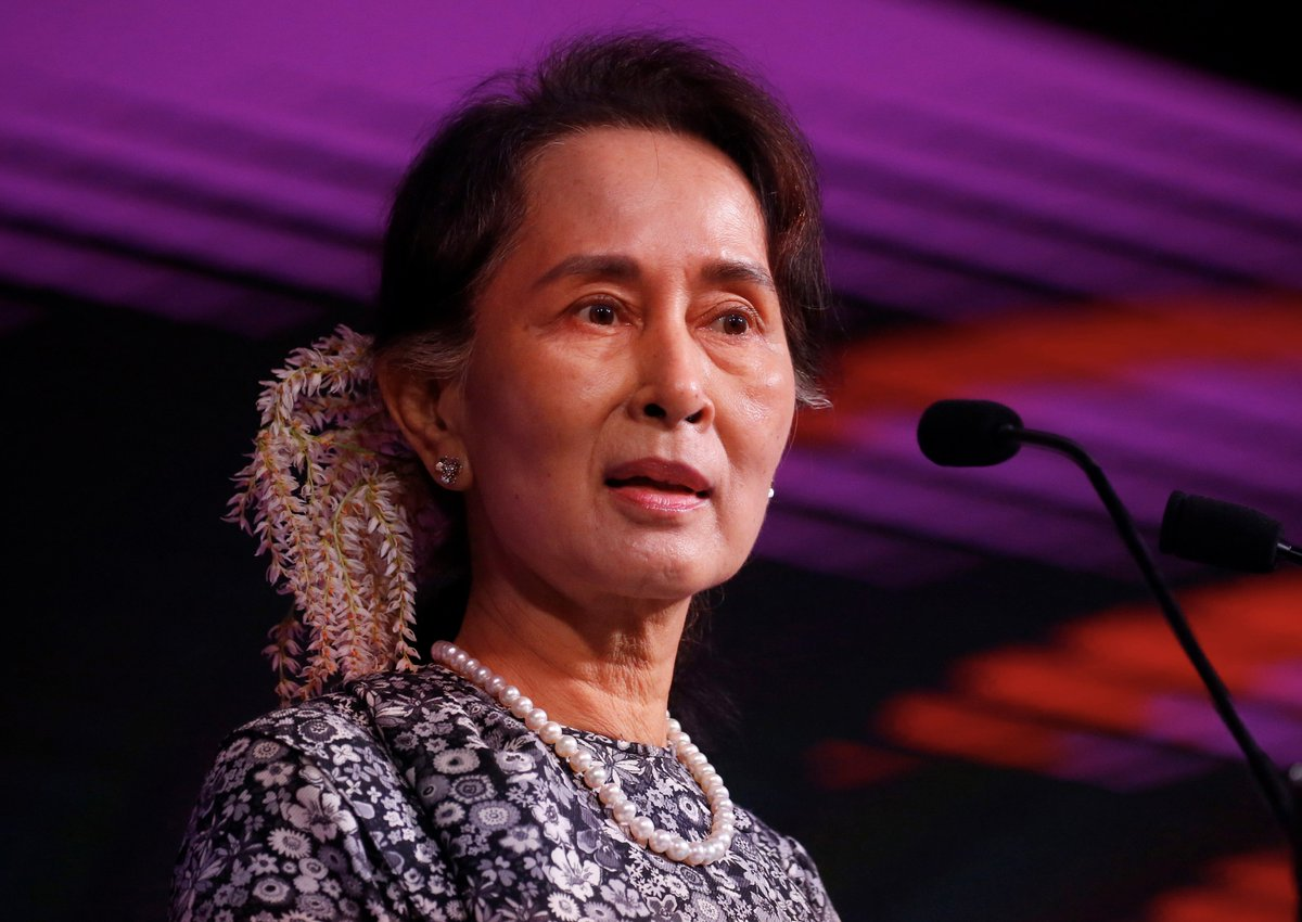 Aung San Suu Kyi was just stripped of a human rights award by @AmnestyOnline, citing her 'shameful betrayal of the values she once stood for.'   The UN says Myanmar's military has: - killed at least 10,000 Rohingya - raped and murdered hundreds of women - destroyed hundreds of villages
