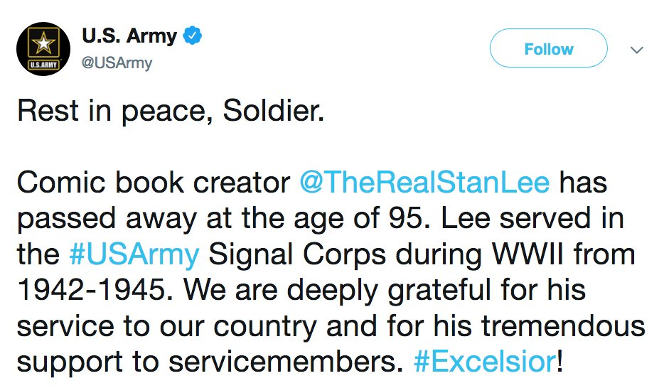 NEW: U.S. Army on passing of Stan Lee: 'Rest in peace, Soldier.' https://t.co/6zpddgLqi6