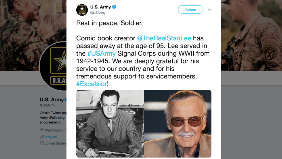 US Army pays tribute to legendary comic book creator Stan Lee: 'Rest in peace, Soldier' https://t.co/LVZ08ALOsr https://t.co/WTrZsf10bp