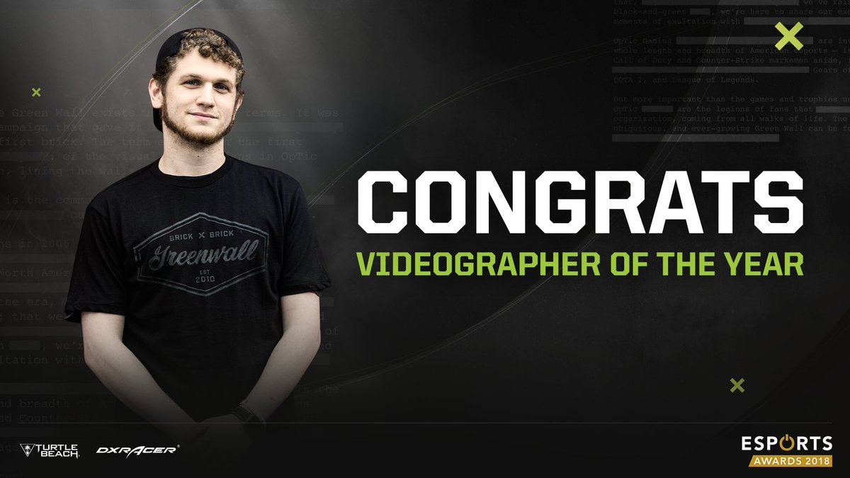 BACK TO BACK @OpTicHitch has been voted 'Esports Videographer of the Year' by the @eSportsIA for the 2nd year in a row!  #GREENWALL