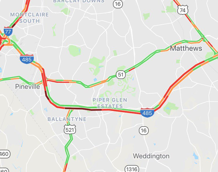 Heavy delays on I-485 in south #Mecklenburg due to a crash near Providence Rd exit 57.   #clttraffic <br>http://pic.twitter.com/jkFarSmRwB