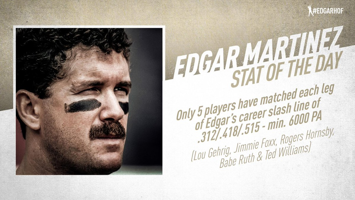Edgar Martinez posted a .312/.418/.515 slash line over his 18-year career. Only Gehrig, Foxx, Hornsby, Ruth and Williams have matched each leg of Edgars slash line (min. 6,000 PA). #EdgarHOF More: atmlb.com/2RSjDJO