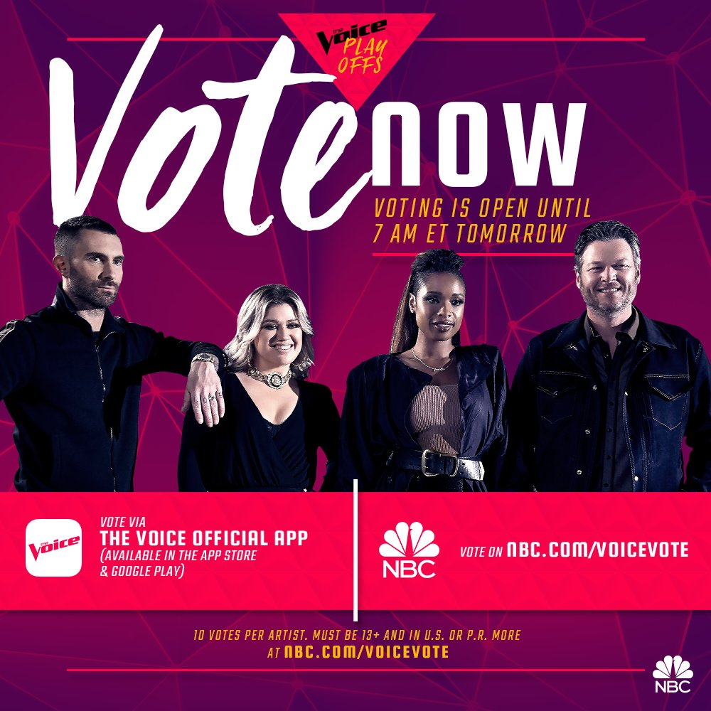 Playoffs are back! Tune in tonight and be sure to vote for Team Blake on @NBCTheVoice – Team BS https://t.co/NeaYzv60hp