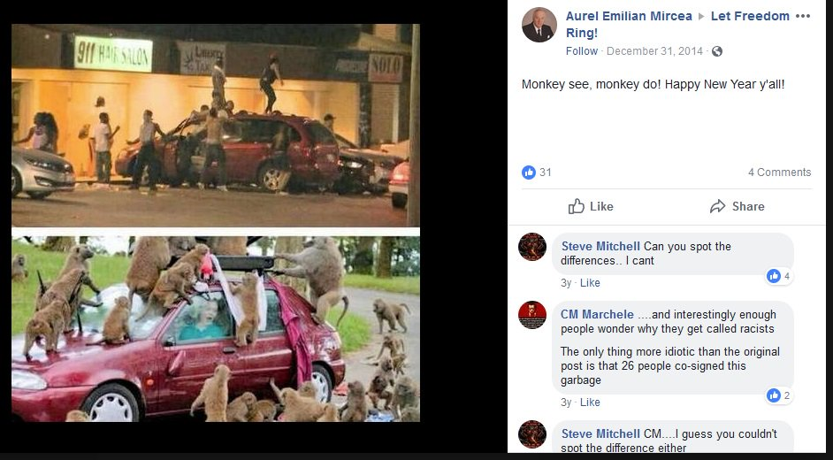 Here is a post form the Tea Party group comparing black people to monkeys.