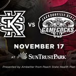 Tickets are still available for the first football game EVER at SunTrust Park! Don't miss the match-up between the Kennesaw State Owls and the Jacksonville State Gamecocks on November 17. https://t.co/Px4rx8pqoZ