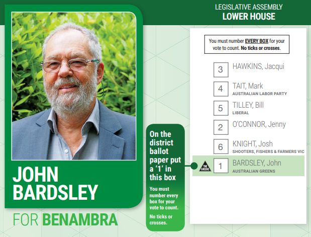 Interesting Green how-to-vote in Benambra. The Greens have both Independents ahead of Labor. Seat is in Federal seat of Indi so an interesting one to watch. #vicvotes Photo