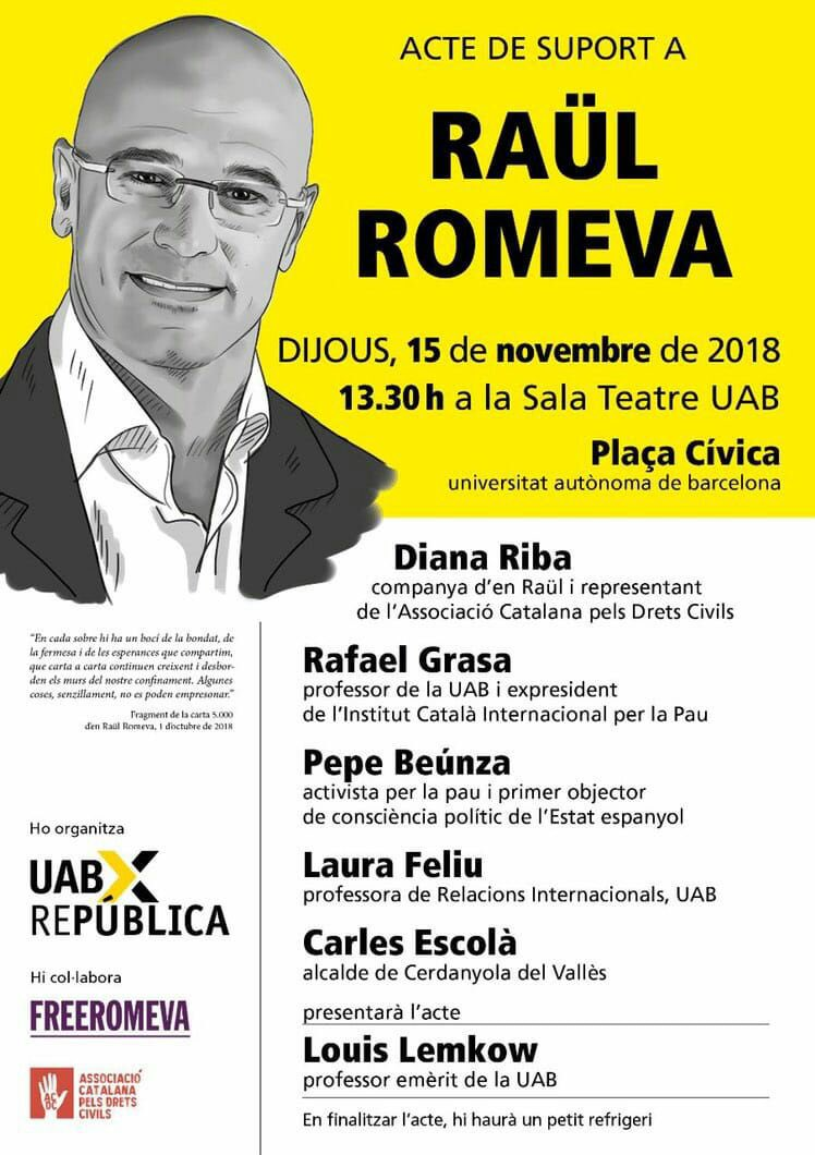 Aquest proper dijous a la UAB, acte de suport a Raül Romeva 🎗