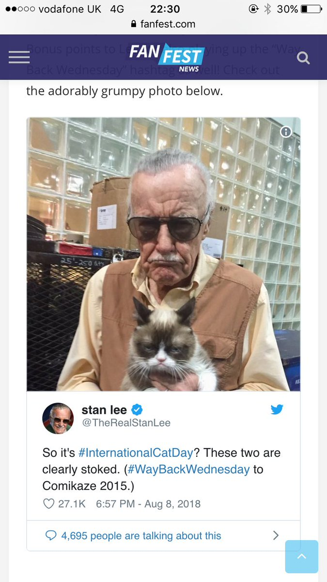 A heartwarming flashback to August this year when @TheRealStanLee tweeted with @RealGrumpyCat on #InternationalCatDay #StanLee  What an amazing and legendary guy. God bless<br>http://pic.twitter.com/LtxBgRU6KV
