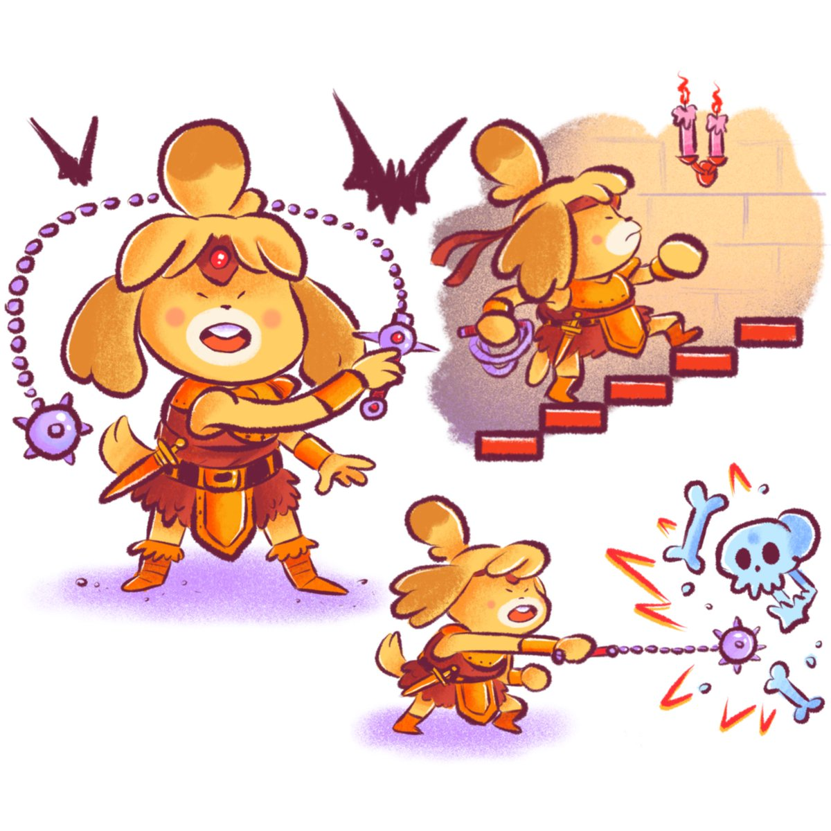 Couldn't decide who I wanted to draw more so I made a compromise, here's Isabellmont  #animalcrossing #Castlevania<br>http://pic.twitter.com/QlJv2n01gC