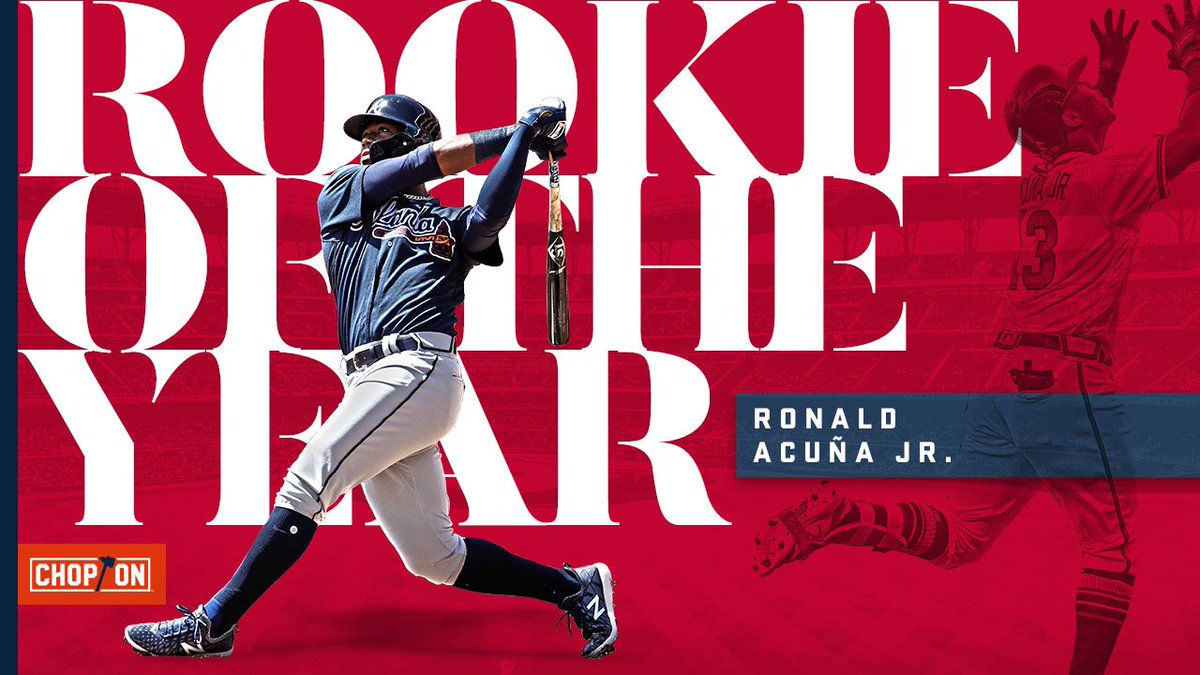 YOUR 2018 National League Rookie of the Year: @ronaldacunajr24!#ChopOn