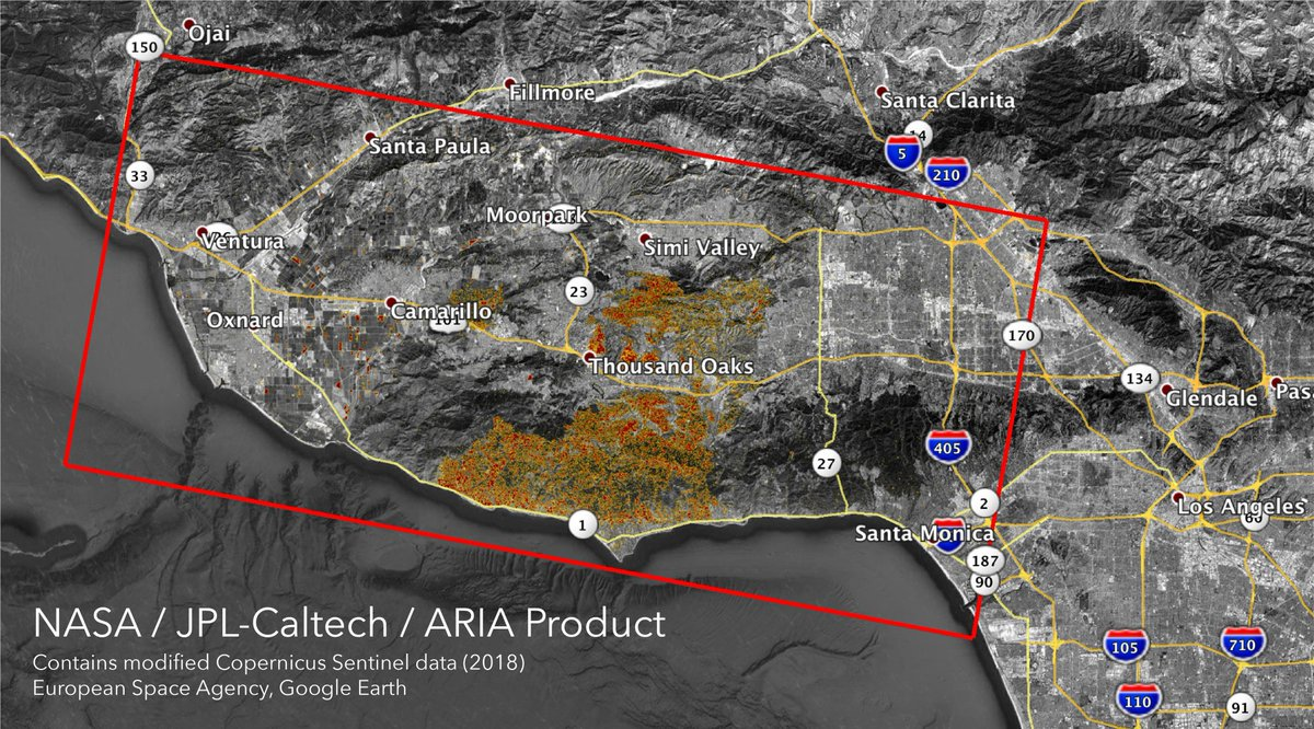 Visualizing loss and the effort to contain destruction. @NASA's ARIA provides a damage map of California's #WoolseyFire and #CampFire from space. https://t.co/hAxh8Rgt3Q