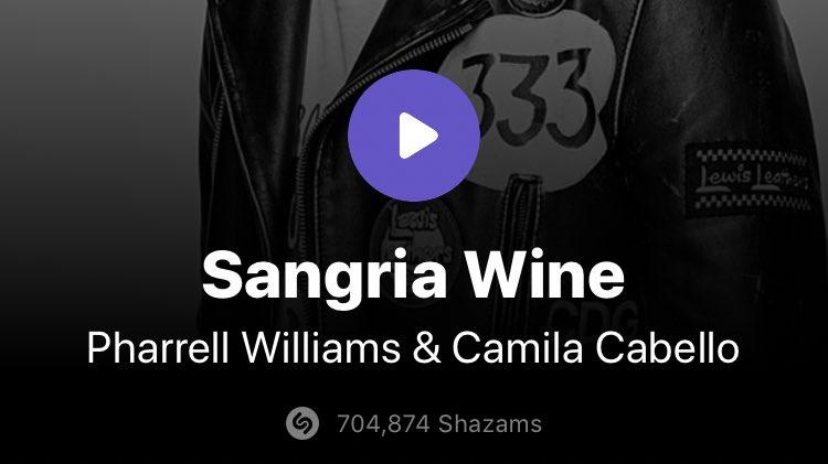 'Sangria Wine' by Pharrell and Camila has surpassed 700K Shazams! https://t.co/FQJZlN9sG4