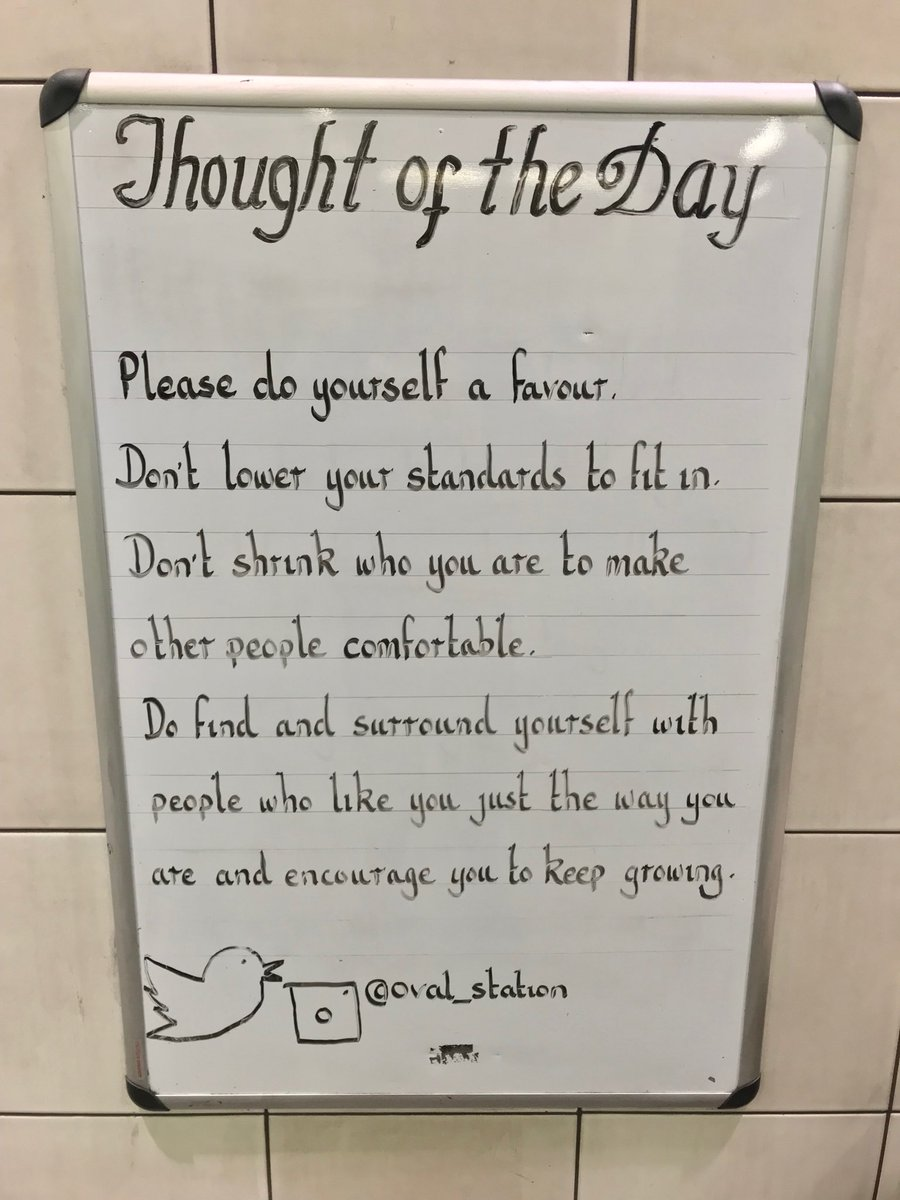 Tuesday 13th November Thought Of The Day From Oval Station