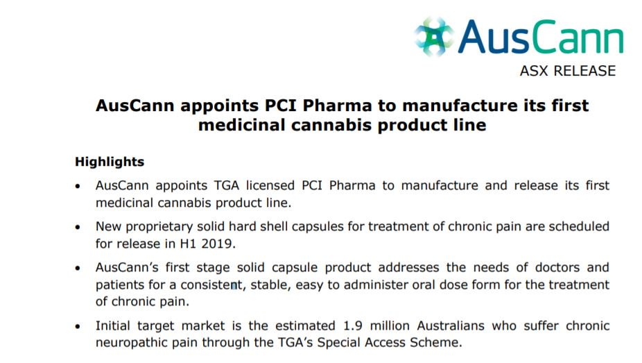 AusCann appoints PCI Pharma to manufacture and release first medicinal cannabis product line. https://t.co/lxKGYKhFGw @PCI_Social  #AC8 #ASX