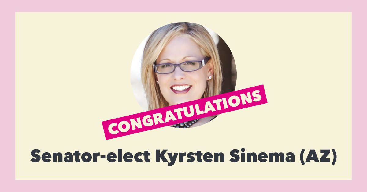 YES! @kyrstensinema&#39;s historic win makes her the first woman — and the first progressive — to represent Arizona as senator.   Times are changing, and we&#39;re excited to see what she does as a champion of reproductive health care and rights!  #AZsenate #TakeItBack <br>http://pic.twitter.com/JjApmFNKWy