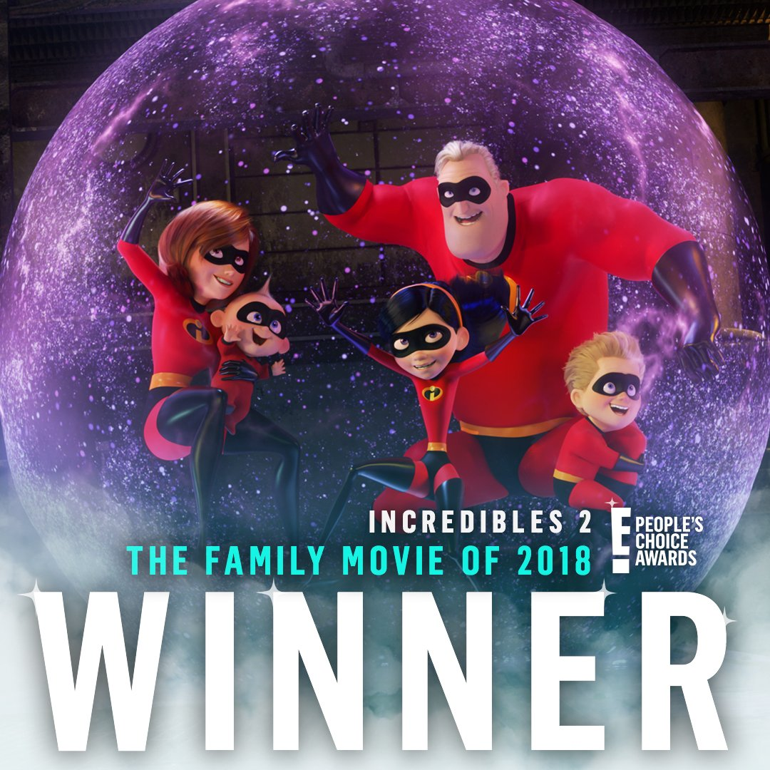 Congratulations @TheIncredibles for winning The E! People's Choice Award for #TheFamilyMovie of 2018! #PCAs