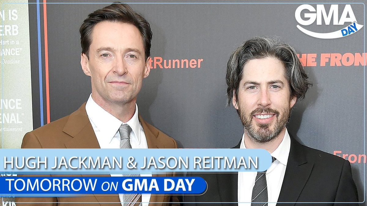 TOMORROW ON #GMADay with @sarahaines & @michaelstrahan: @RealHughJackman & @JasonReitman are joining us for lunch!! Tune in at 1pET/ 12pC/P.