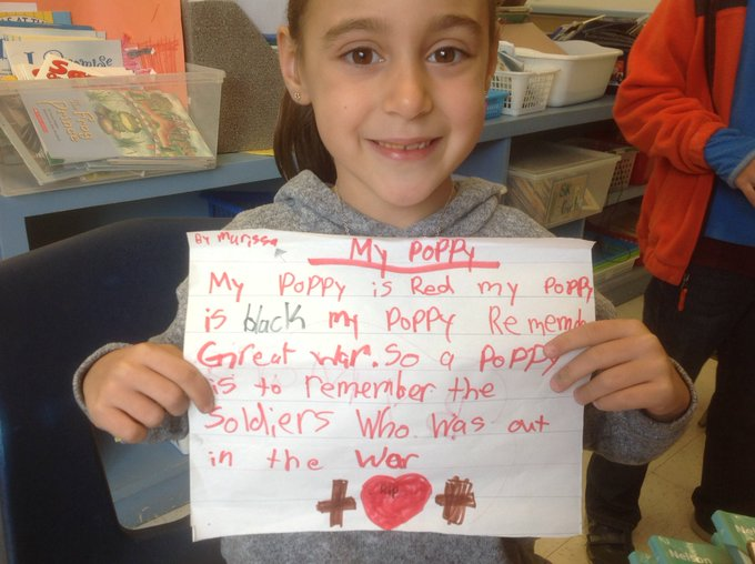Our Grade 2 student felt inspired by our Remembrance Day assembly and wrote this on her own! #RememberanceDay2018 #DCDSBExcellence Photo