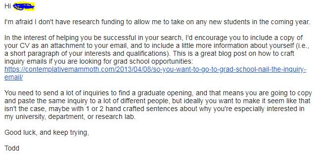 Its that time of year when research academics get carpet bombed with email inquiries about graduate school. Please be as supportive as you can, even if they miss the boat with their opening email. @JacquelynGill