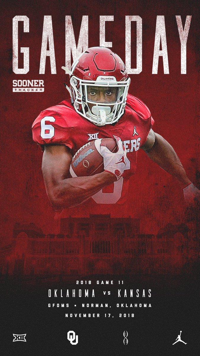 Wake up Sooners, it&#39;s gameday! OU hosts the Kansas Jayhawks for a rare night game in Norman. Unfortunately for KU, this one&#39;s not at the LNC. : 6:30 pm CT : GFOMS : FOX <br>http://pic.twitter.com/NxmvCzmB8b