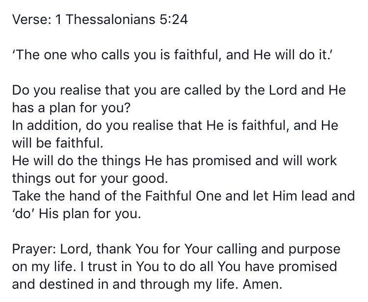 #WordForTheDay 1 Thessalonians 5 vs 24 https://t.co/UIt5YWddcj