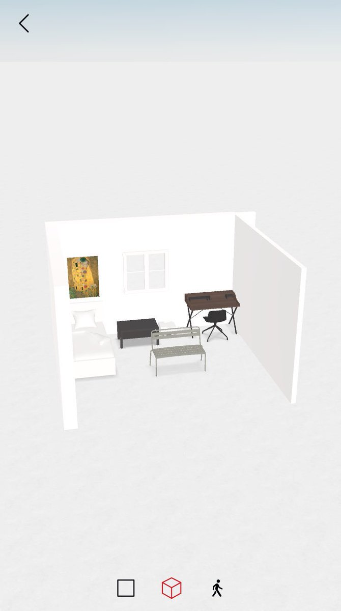 このRoomleというアプリ、部屋や家具の作画にとても便利。部屋の形も家具の配置も簡単且つ自由にアレンジでき、カメラ位置も自由に設定できるので欲しい資料がピンポイントで即座に手に入る。