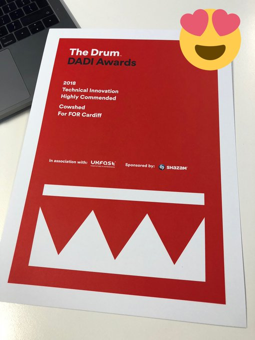 Our Highly Commended certificate just arrived from @TheDrum DADI awards. What a good evening that was! Da iawn pawb 👏🏻 Photo