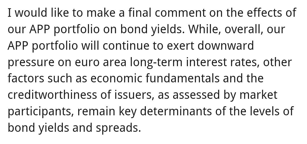 Paraphrasing Peter Praet: monetary accommodation - via QE stock effect and forward guidance - doesn't mean that bond yields (and spreads) won't rise, for good (or bad) reasons.