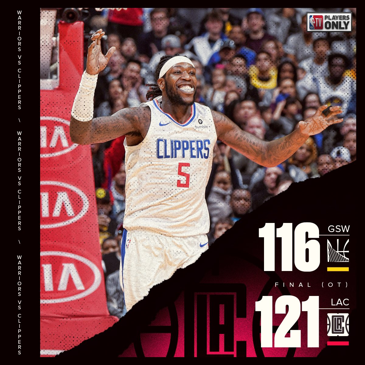 The @LAClippers hang on to defeat the Warriors at home in OT! 😱 #ClipperNation | #PlayersOnly