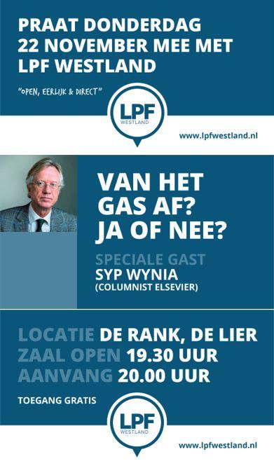 ADV; Politieke avond LPF Westland met als speciale gast Syp Wynia (Elsevier Weekblad) https://t.co/rJTeHUa3H6 https://t.co/sydrlWi5ur