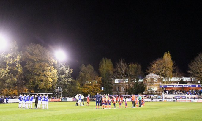 A touching #RememberanceDay2018 ceremony pre-match between @HRBFC and @OfficialOAFC Photo