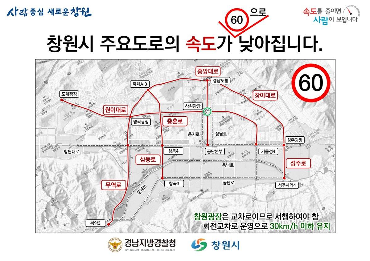 #사람중심 #교통안전도시    #창원시 주요도로 제한속도가 60km/h로 낮아집니다!  모두 안전운전하세요⚠️   관련기사보기 >> https://t.co/9of7uiovDQ https://t.co/Cj02cPhVjL