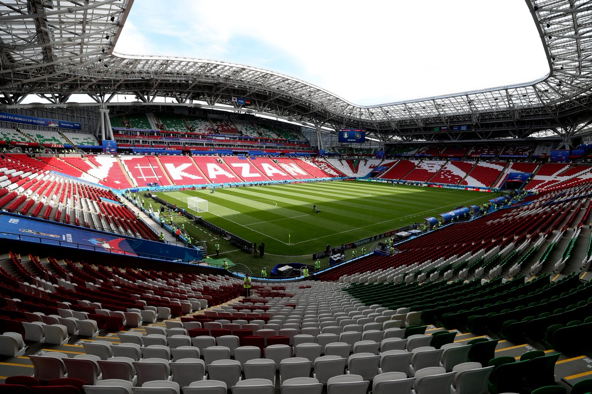 Kazan Arena 🇷🇺🏟️😍 The stadium hosted six Russia 2018 games and witnessed the elimination of three #WorldCup champions 😲 Can you name those teams? 🤔