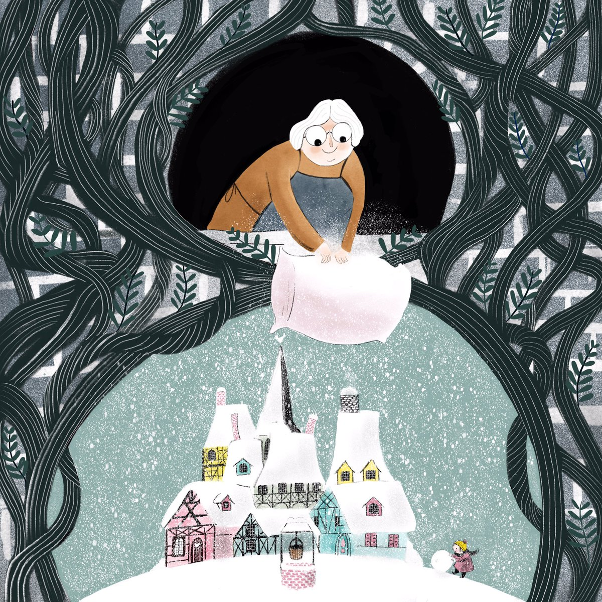 Vrouw/Frau Holle adding some #magic  to #folktaleweek! Head over to Instagram if you want to join #folktaleweek2018. You still can! #kidlitart #childrensbookillustration #childrensillustration #folktales<br>http://pic.twitter.com/EulQ2vTSqk