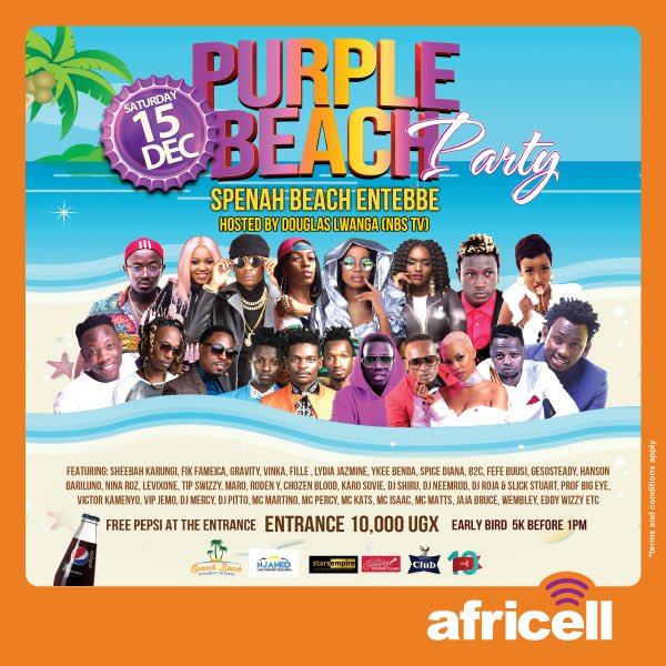 AFRICELL presents the Biggest Celebration of Uganda Music. #PurpleParty live at Spenah Beach Entebbe. If its AFRICELL you know its goin be Lit Lit Lit 🔥 Dont Be Cheated, see you in Entebbe Sat 15 Dec