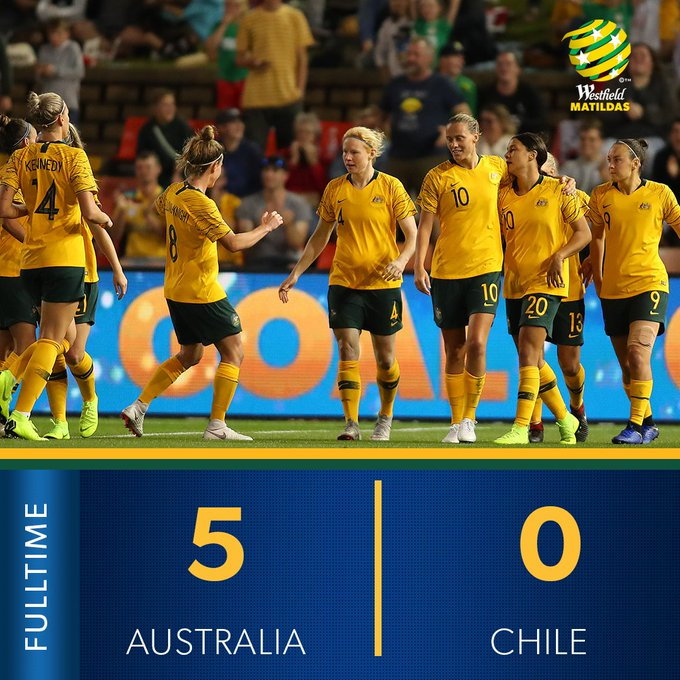 FULL TIME   What a performance by the Westfield Matildas! ⭐️ Watch all the goals: #GoMatildas #AUSvCHI Photo