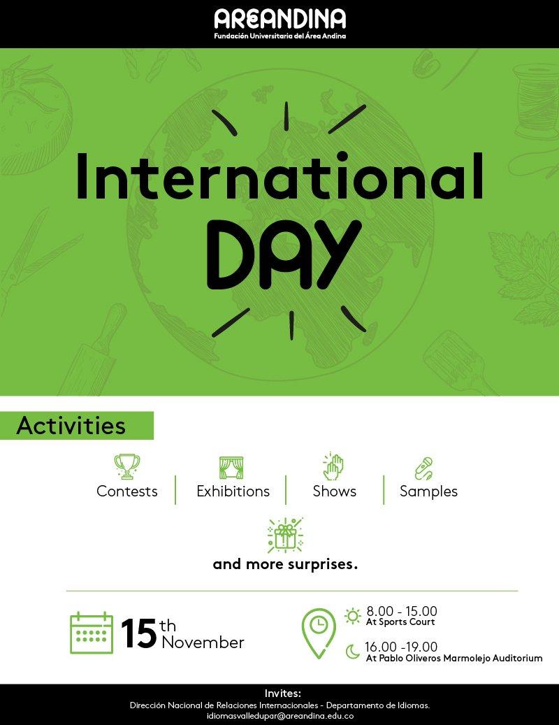 Our #InternationalDay is coming...are you ready to enjoy it? please, join us!!! #AreandinaSinFronteras #SayYestoEnglish #GlobalCitizens https://sedevalledupar.areandina.edu.co/content/international-day-2018… 🔜 🇬🇧🇫🇷🇨🇴🇺🇸