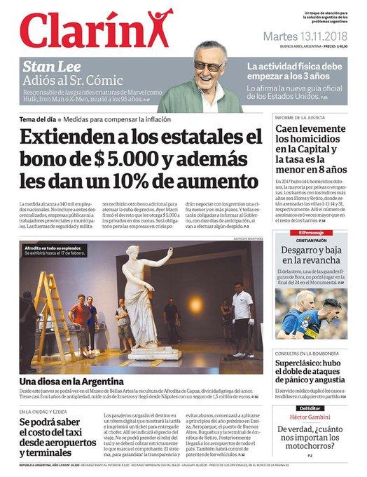 El #bono para privados y estatales el tema central en las tapas de los diarios de hoy. Acá se las dejo, que tengan un #BuenMartes!! Foto