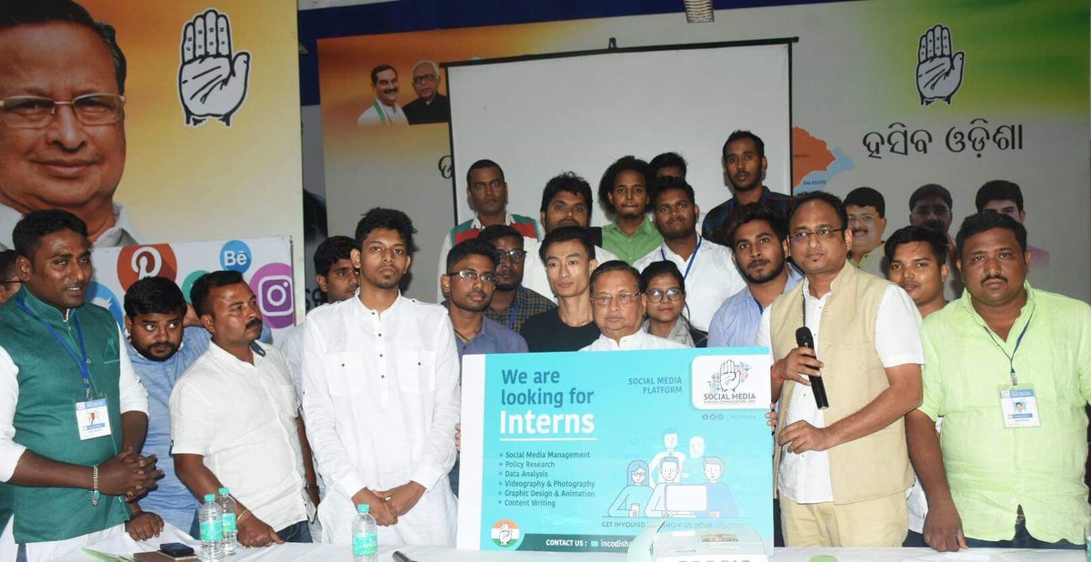 """PCC President Shri @NPatnaikOdisha & State Social Media Coordinator Shri @MahanandaINC launched the """"Social Media Internship Program"""" today at Congress Bhawan,BBSR. This is an initiative by the Social Media Team of Odisha to reach out to Volunteer groups in digital space."""